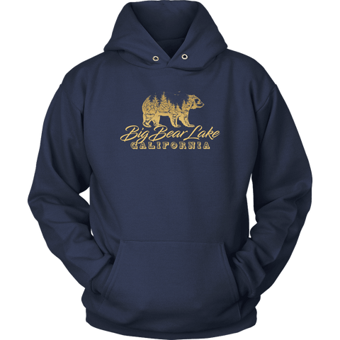 Image of Big Bear Lake California V.2, Gold, Hoodies Long Sleeve T-shirt Unisex Hoodie Navy S