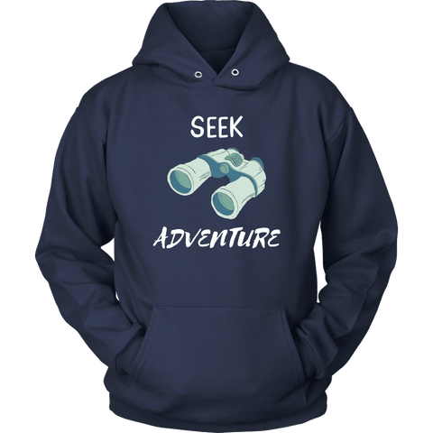 Image of Seek Adventure with Binoculars (Womens) T-shirt Unisex Hoodie Navy S
