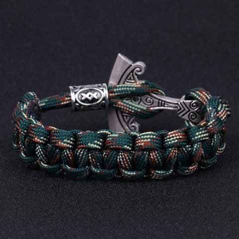 Norse Rune and Axe Paracord Bracelet Chain & Link Bracelets