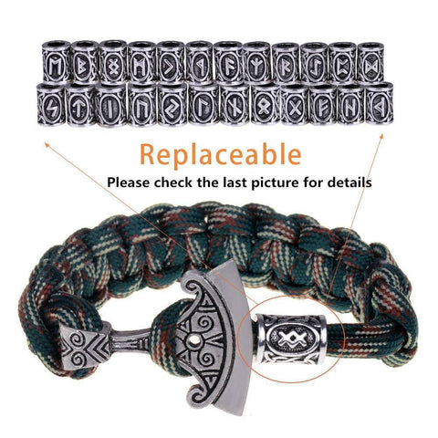 Image of Norse Rune and Axe Paracord Bracelet Chain & Link Bracelets