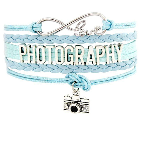 Image of Infinity Love Photography Leather Wrap Charm Bracelets B0986