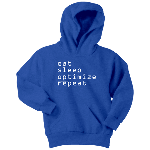 Image of eat, sleep, optimize repeat Hoodie V.1 T-shirt Youth Hoodie Royal Blue XS