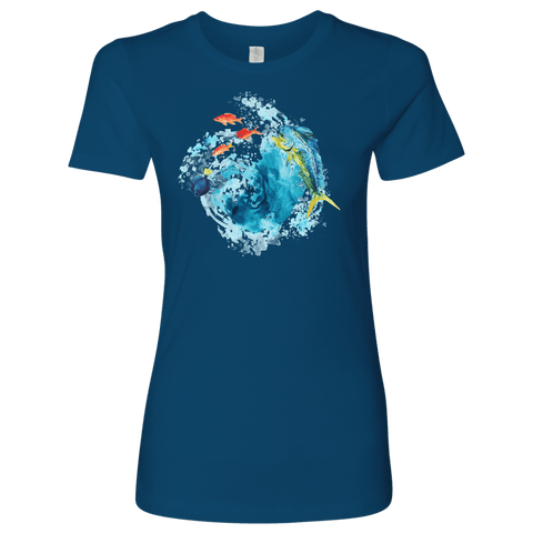 Image of Dorado Fish T-shirt Next Level Womens Shirt Cool Blue S