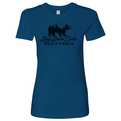 Image of Big Bear Lake California V.2, Womens, Black T-shirt Next Level Womens Shirt Cool Blue S
