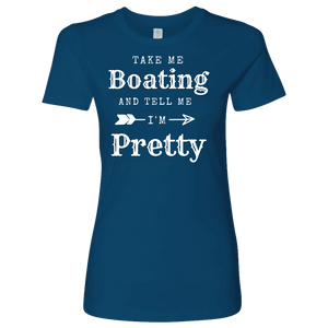 Take Me Boating Womens Shirts T-shirt Next Level Womens Shirt Cool Blue S