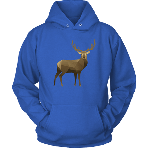 Real Polygonal Deer T-shirt Unisex Hoodie Royal Blue S