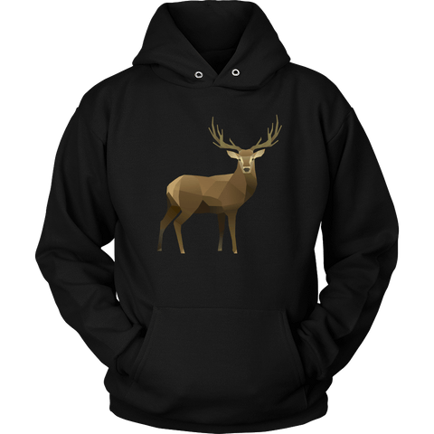 Real Polygonal Deer T-shirt Unisex Hoodie Black S