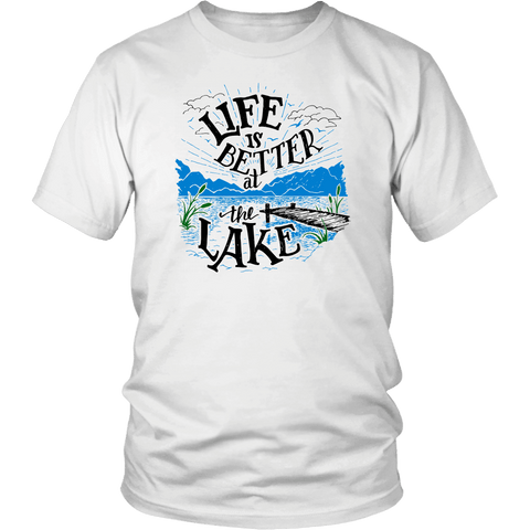 Image of Life is Better At The Lake Men's Shirts T-shirt District Unisex Shirt White S