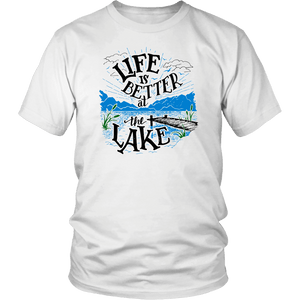 Life is Better At The Lake Men's Shirts T-shirt District Unisex Shirt White S