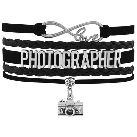 Image of Infinity Love Photography Leather Wrap Charm Bracelets B4932