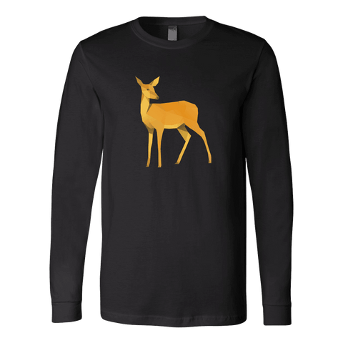 Image of Polygonal Doe T-shirt Canvas Long Sleeve Shirt Black S