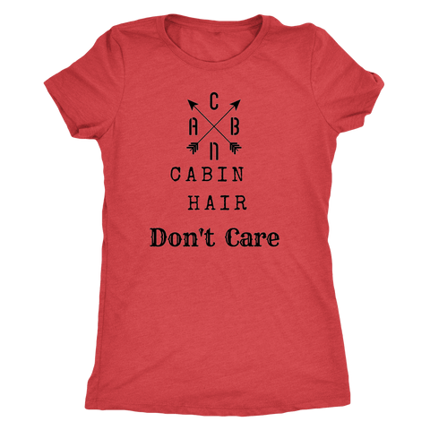Image of CABN, Cabin Hair, Don't Care T-shirt Next Level Womens Triblend Vintage Red S
