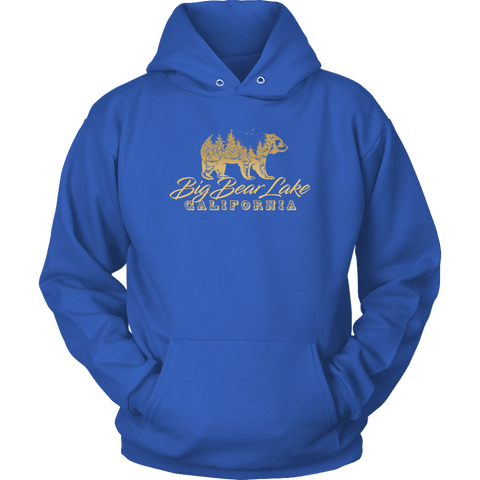 Image of Big Bear Lake California V.2, Gold, Hoodies Long Sleeve T-shirt Unisex Hoodie Royal Blue S