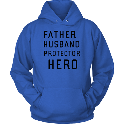 Image of Father Husband Protector Hero, Black Print T-shirt Unisex Hoodie Royal Blue S