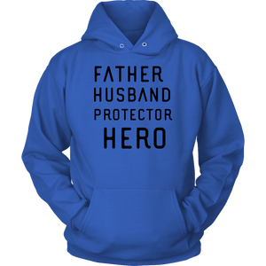 Father Husband Protector Hero, Black Print T-shirt Unisex Hoodie Royal Blue S