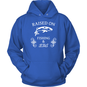 Fishing and Jesus, White T-shirt Unisex Hoodie Royal Blue S