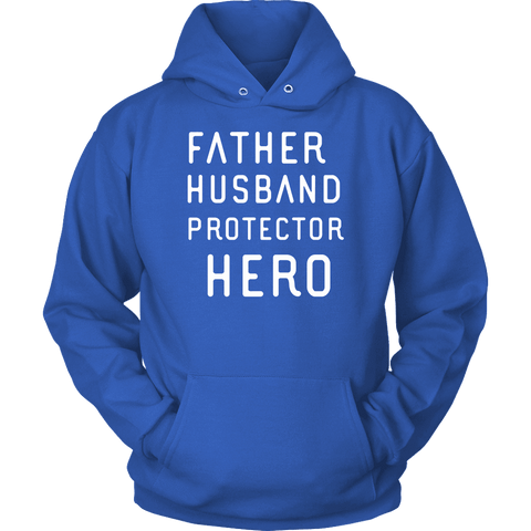 Image of Father Husband Protector Hero White Print T-shirt Unisex Hoodie Royal Blue S