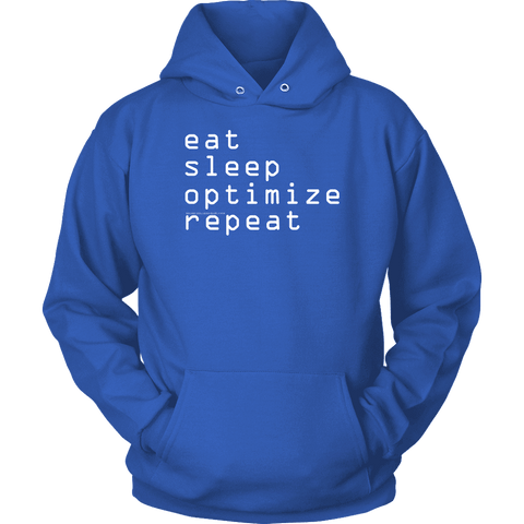 Image of eat, sleep, optimize repeat Hoodie V.1 T-shirt Unisex Hoodie Royal Blue S