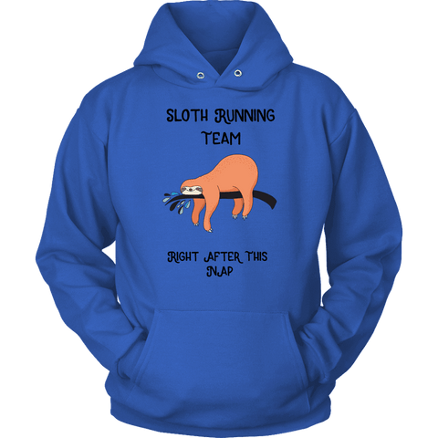 Image of Sloth Running Team T-shirt Unisex Hoodie Royal Blue S