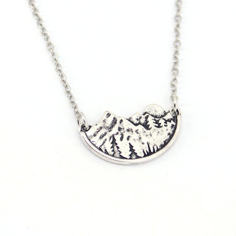 Image of Handcrafted Necklace, Moon over the Mountains, Share Your Love of the Outdoors Chain Necklaces