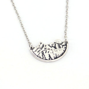 Handcrafted Necklace, Moon over the Mountains, Share Your Love of the Outdoors Chain Necklaces
