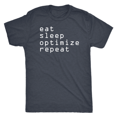 Image of eat, sleep, optimize, repeat T-shirt Next Level Mens Triblend Vintage Navy S