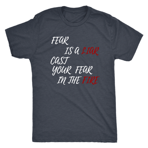Image of Fear Is A LIAR! White T-shirt Next Level Mens Triblend Vintage Navy S