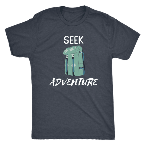Image of Seek Adventure with Backpack (Mens) T-shirt Next Level Mens Triblend Vintage Navy S