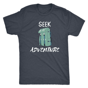 Seek Adventure with Backpack (Mens) T-shirt Next Level Mens Triblend Vintage Navy S