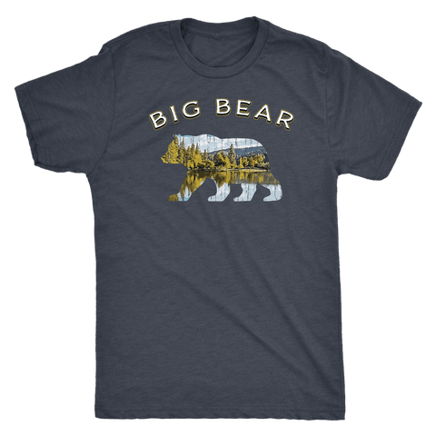 Image of Big Bear V.1 Men's Shirts T-shirt Next Level Mens Triblend Vintage Navy S