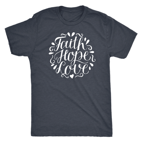 Image of Faith Hope and Love, White Print T-shirt Next Level Mens Triblend Vintage Navy S