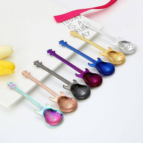 Image of Stainless Steel Guitar Shape Coffee Spoons Coffee Scoops