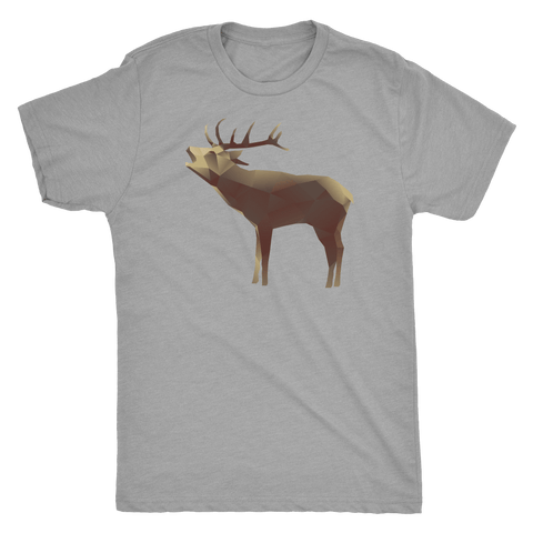 Large Polygonaly Deer T-shirt Next Level Mens Triblend Premium Heather S