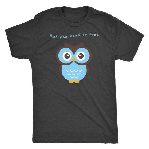 Owl You Need is Love T-shirt Next Level Mens Triblend Vintage Black S