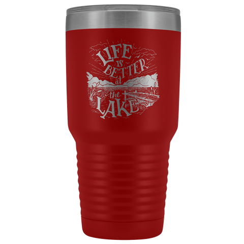 Image of Life is Better at the Lake | 30 oz. tumbler Tumblers Red