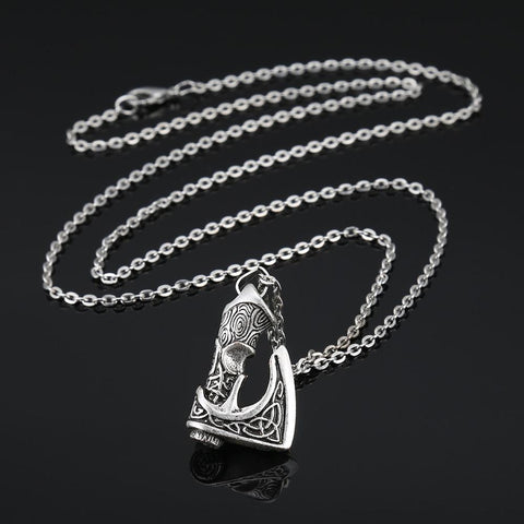 Image of Antique Silver Viking Axe Pendant Necklace