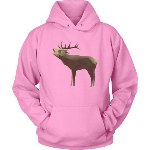 Image of Large Polygonaly Deer T-shirt Unisex Hoodie Pink S