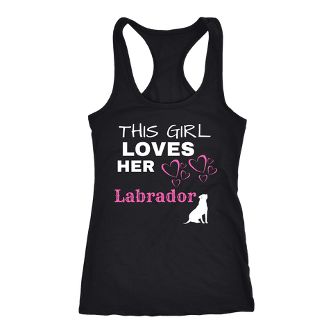 Image of This Girl Loves Her Lab T-shirt Next Level Racerback Tank Black XS