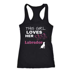 This Girl Loves Her Lab T-shirt Next Level Racerback Tank Black XS
