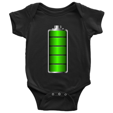 Image of Fully Charged Onsies T-shirt Baby Bodysuit Black NB