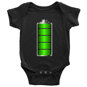 Fully Charged Onsies T-shirt Baby Bodysuit Black NB