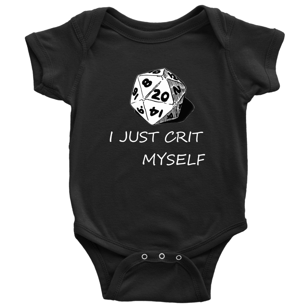 I Just Crit Myself Onsies T-shirt Baby Bodysuit Black NB