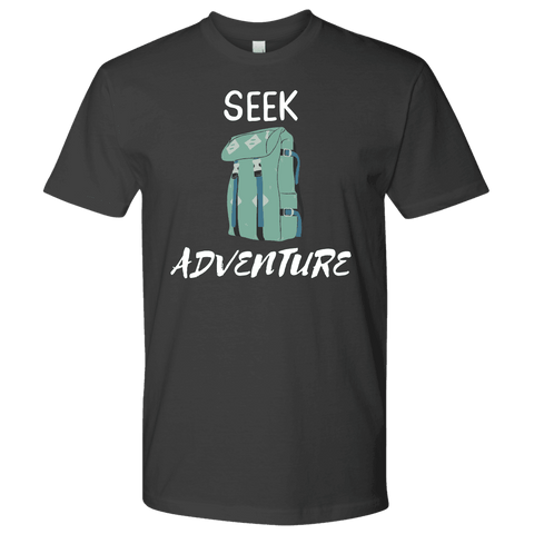 Image of Seek Adventure with Backpack (Mens) T-shirt Next Level Mens Shirt Heavy Metal S