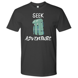Seek Adventure with Backpack (Mens) T-shirt Next Level Mens Shirt Heavy Metal S
