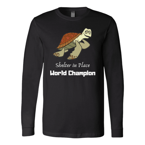 Shelter In Place World Champion, White Print Long Sleeve Hoodie T-shirt Canvas Long Sleeve Shirt Black S