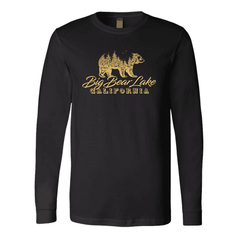 Image of Big Bear Lake California V.2, Gold, Hoodies Long Sleeve T-shirt Canvas Long Sleeve Shirt Black S