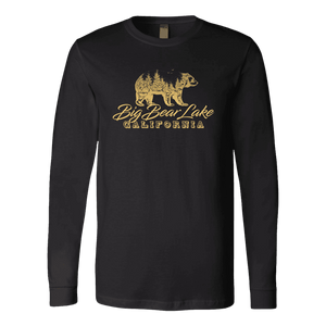 Big Bear Lake California V.2, Gold, Hoodies Long Sleeve T-shirt Canvas Long Sleeve Shirt Black S
