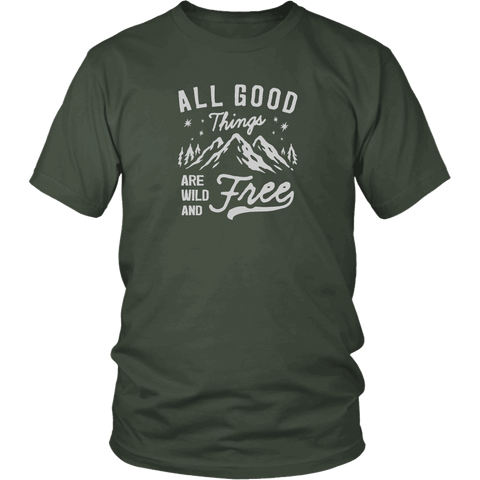 Image of Wild and Free T-shirt District Unisex Shirt Olive S