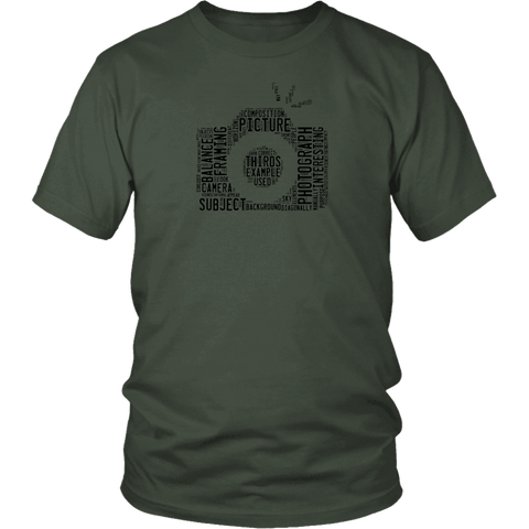 Image of Awesome Word Camera Shirt T-shirt District Unisex Shirt Olive S