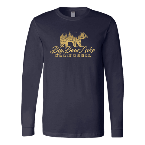 Image of Big Bear Lake California V.2, Gold, Hoodies Long Sleeve T-shirt Canvas Long Sleeve Shirt Navy S